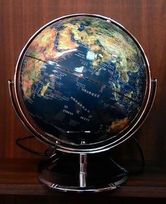 地球儀 10吋衛星原貌360度迴旋 白光 金屬底座 地球儀