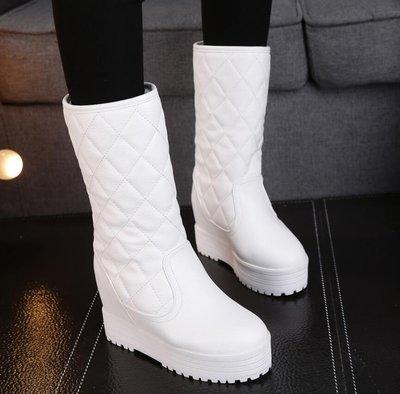 雪靴 內增高雪地靴厚底棉靴 顯瘦中筒靴 百塔靴子 保暖棉鞋—莎芭