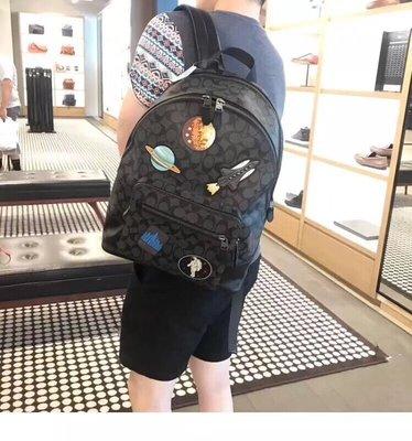 COACH 29040 男士新款個性後背包 太空圖案系列 容量大 可放筆電 雙隔層