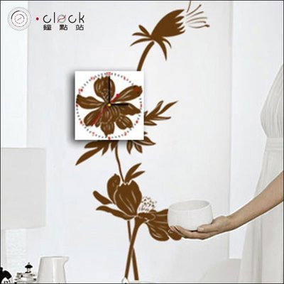 【鐘點站】DIY 壁貼畫鐘 掛鐘 時鐘 靜音掃描 壁紙 牆壁貼鐘 復古花卉(26B022)