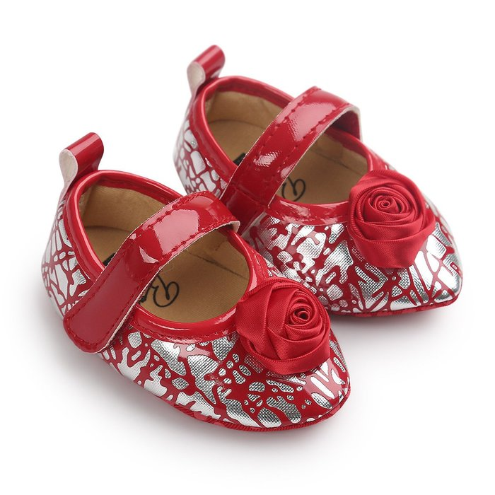 森林寶貝屋~紅紋理尖頭公主鞋~學步鞋~幼兒鞋~寶寶鞋~娃娃鞋~童鞋~粘扣帶設計~穿脫方便~坐學步車穿~彌月贈禮~特價