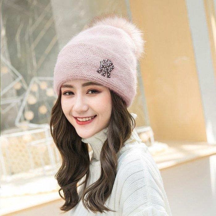 帽子女休閒百搭針織毛線帽冬季韓版潮帽兔毛帽秋冬保暖貝雷帽加厚