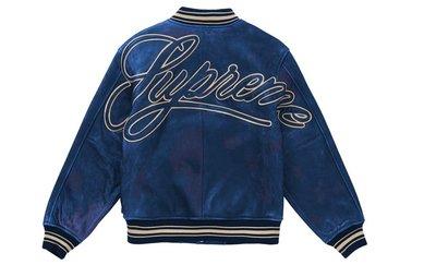 [現貨預購] Supreme Worn Leather Varsity Jacket Blue 藍色復古皮衣外套