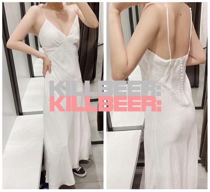 KillBeer:仙女是怎樣煉成的之 歐美復古性感氣質裸白光澤緞面感刺繡V領低胸排扣露背吊帶連身裙長洋裝A080401
