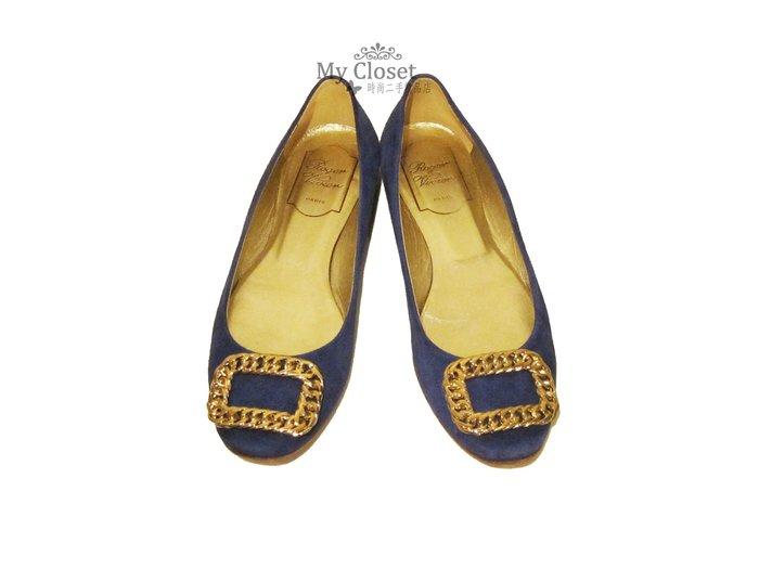 My Closet 二手名牌 Roger Vivier 經典銀方框寶藍色麂皮圓頭平底鞋