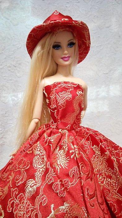 滿百元出貨 1/6 /芭比/珍妮 超美高質感紅色緹花豪華大禮服