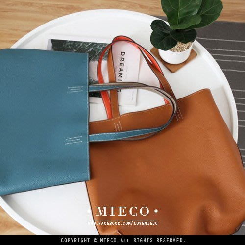 【Mieco】真皮訂製 裡外撞色進口牛皮 大容量手提肩背兩用托特包/購物包。miss ash