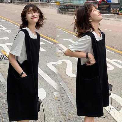 限時免運~T恤背心兩件套M-4XL寬鬆顯瘦肥mm連身裙長裙韓版背帶裙兩件套MB064-1.9266