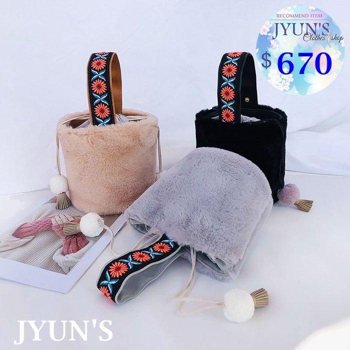 JYUN'S 新款毛絨民族風手提包立體刺繡小包毛絨絨包圓筒包斜垮水桶包 3色 預購