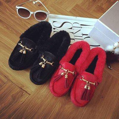 GOGO SHOP☆╭♥GT0024♥歐美圓頭毛絨羊羔毛淺口加絨豆豆鞋單鞋豆豆鞋加絨女保暖棉瓢鞋平跟牛筋軟底鞋棉鞋