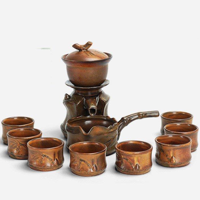 5Cgo【茗道】43665520164 粗陶瓷半全自動茶具套裝懶人整套功夫茶具沖茶器茶壺茶側把海品茗杯竹節竹筒-竹報平安
