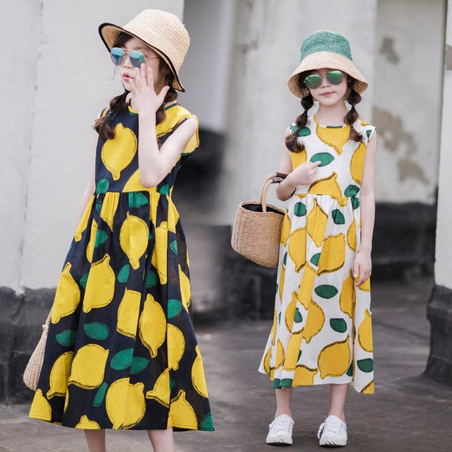 iKIDS♬2019夏季 新款 韓版 女童 童裝 中童 大童 夏季水果 檸檬滿印 背心裙 沙灘裙 親子裝(預購) PO