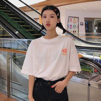 新時代家居~夏裝女裝2019新款韓版卡通可愛刺繡網紅短袖t恤女學生打底衫上衣