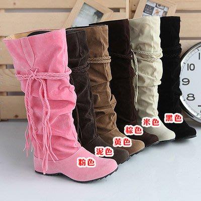 ☆女孩衣著☆雪地靴中跟流蘇靴內增高女靴子保暖棉鞋(NO.30)