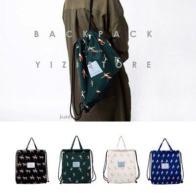 YIZI 正品 文創印花束口帆布後背包 旅行背包 文青背包 輕巧帆布包 多款選 現貨 [HATI]