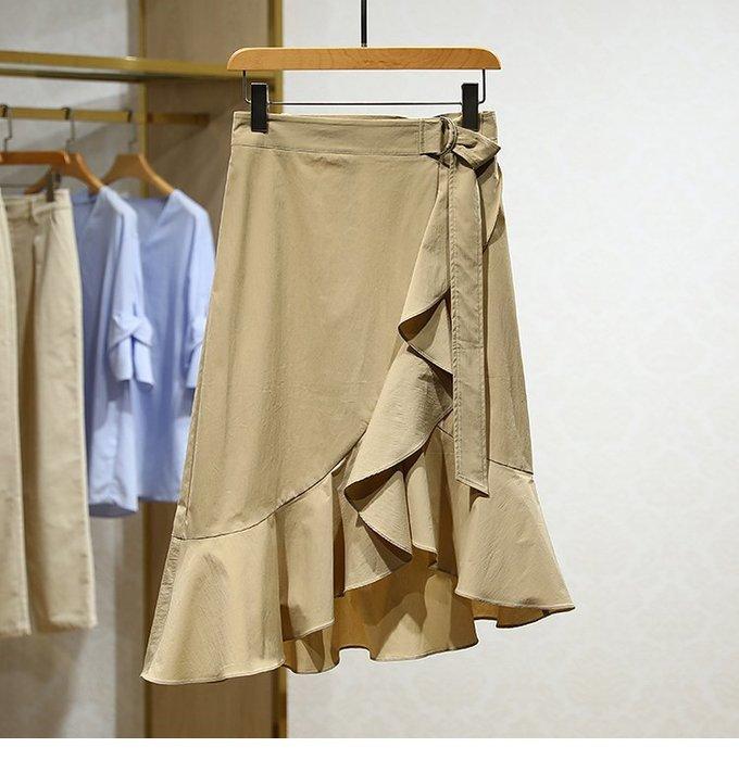 【木風小舖】荷葉交叉造型 側環扣腰帶魚尾裙*卡其