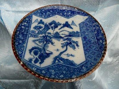 紫色小館4-----日據時代手繪青花盤(直徑25公分)