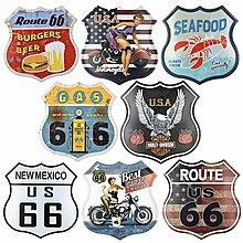 公路66複古鐵皮畫不規則異形創意家居服裝店咖啡廳酒吧家居壁飾(8款可選)