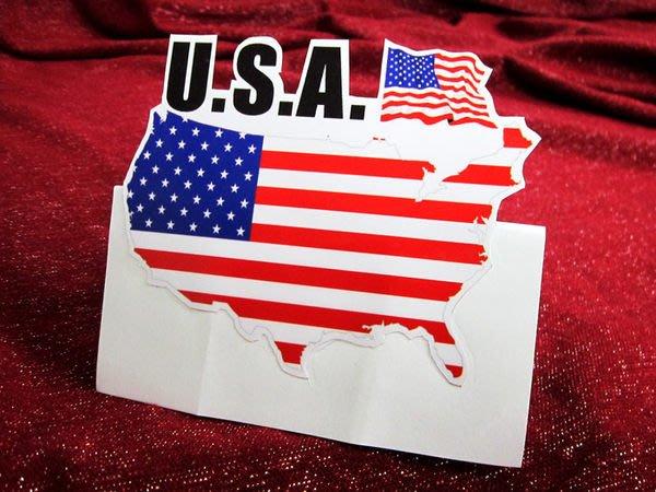 【國旗貼紙專賣店】美國旗地圖抗UV、防水貼紙/USA/世界多國款可收集和訂製