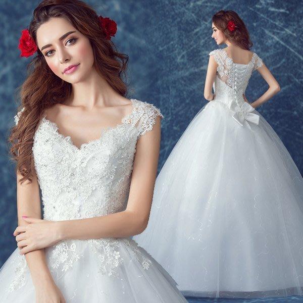 大小姐時尚精品屋~~V領雙肩新娘婚紗長禮服~3件免郵