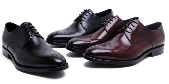 新款男士商務正裝皮鞋 英倫系帶尖頭皮鞋 雕花布洛克鞋真皮男鞋