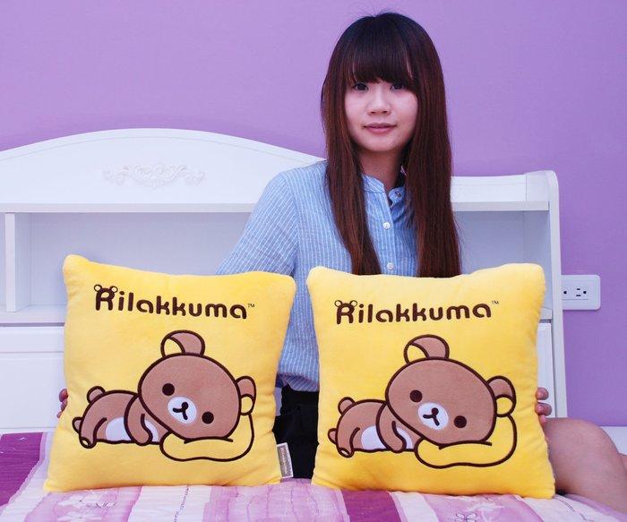娃娃夢幻樂園~可愛拉拉熊抱枕~電繡方枕~懶懶熊~正版授權~拉拉熊枕頭~客廳/房間擺飾~生日禮物~全省宅配