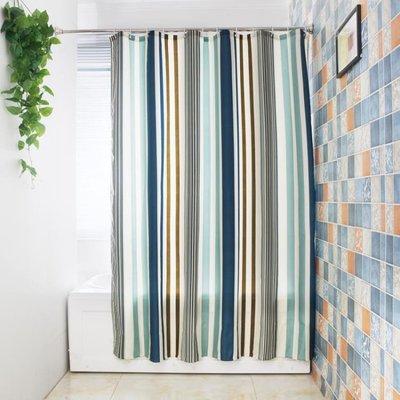 條紋地中海衛生間浴室滌綸免打孔套裝浴簾窗簾隔斷加厚防水防霉桿MJBL