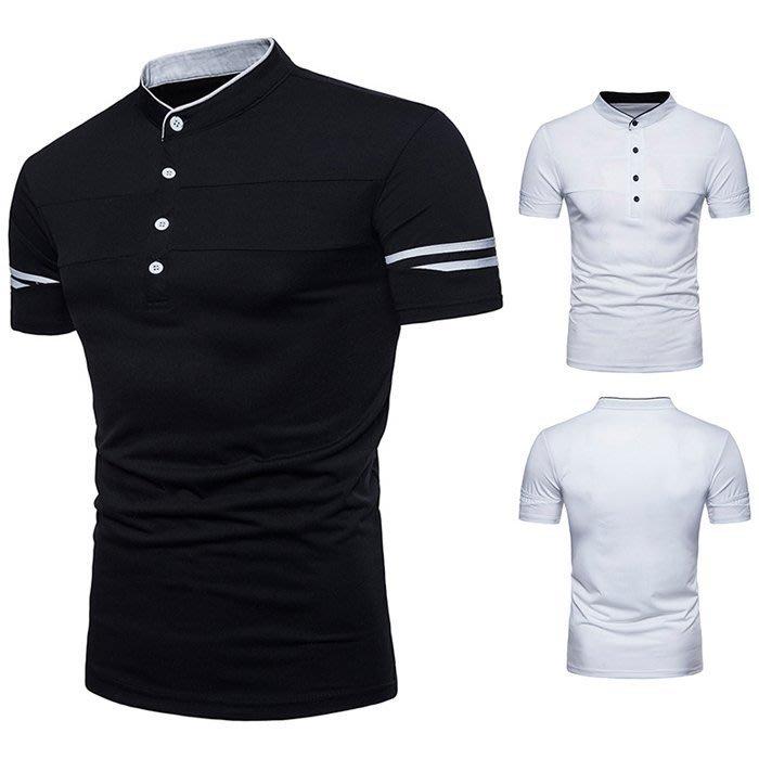 『潮范』 S3 新款男士歐碼亨利領設計短袖POLO衫 商務POLO衫 短袖T恤 撞色TNRG241