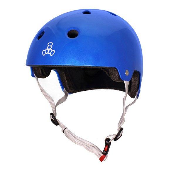 Triple 8 單車(Longboard/ 滑板/ 交通板/ 腳踏車/ 直排輪) - 專用強化 [亮面藍] EPS頭盔
