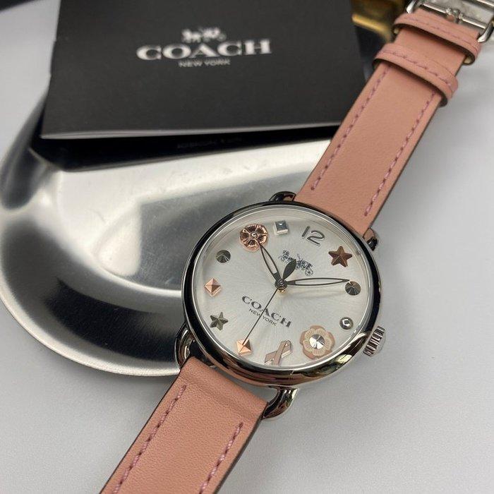 COACH蔻馳女錶,編號CH00008,36mm銀圓形精鋼錶殼,銀白色繽紛系列錶面,粉紅真皮皮革錶帶款,閃亮度冠絕全場