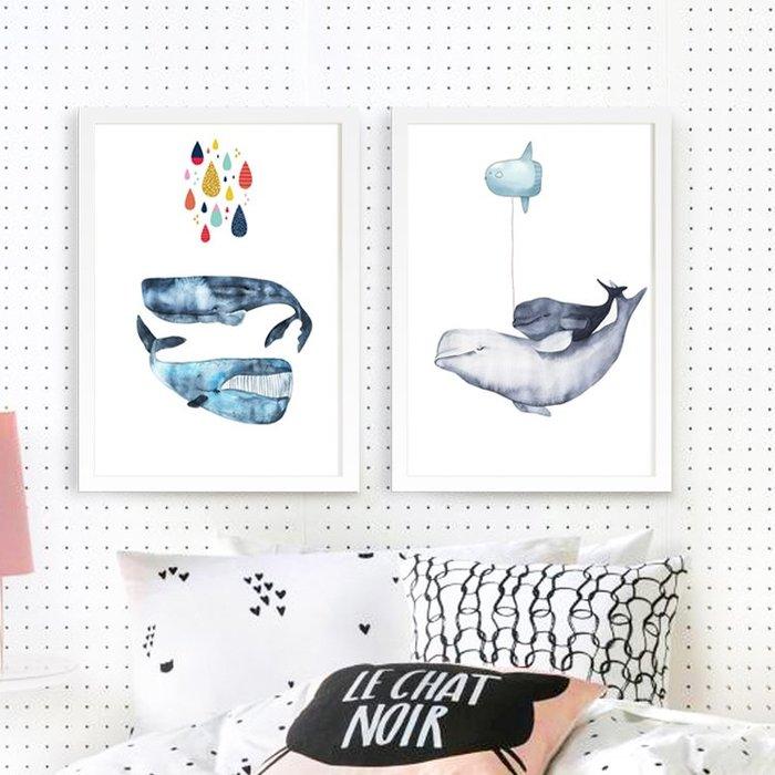 掛畫 裝飾畫 實木相框 有框掛畫海豚鯨魚北歐兒童房裝飾畫可愛卡通動物臥室掛畫現代簡約床頭壁畫便宜實惠掛畫裝飾畫居家用品