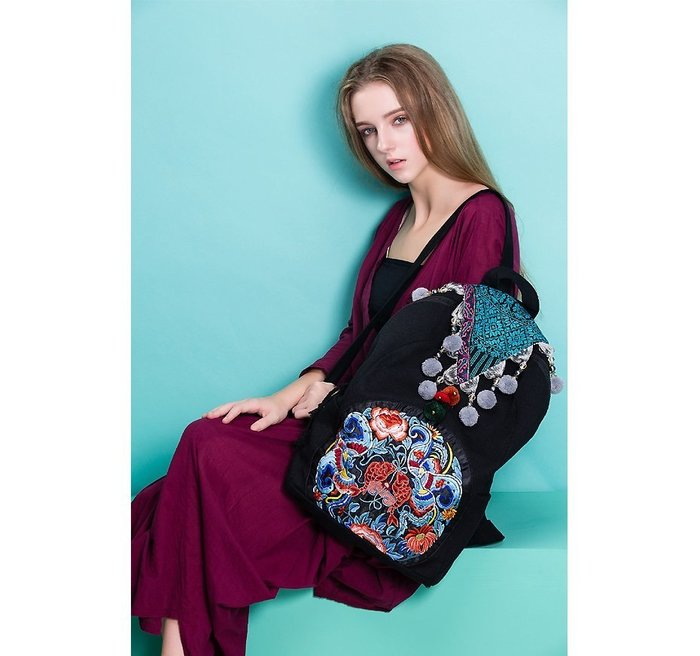 竹竹中國服飾--原創 泰國風情 民族風 刺繡包雙肩包背包旅行包後背包  吉祥 (特價品)