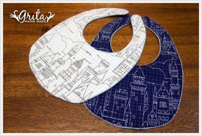 ♥grita's handmade♥純棉手作嬰幼兒圍兜兜/領巾/口水巾/三角巾/彌月禮—城堡