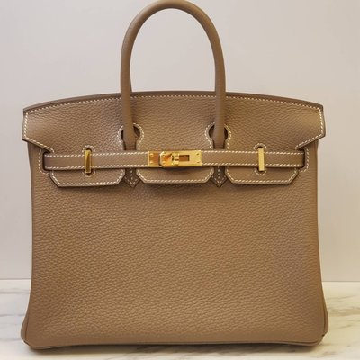 【 RECOVER 名品二手 SOLD OUT】HERMES 大象灰 25CM 金釦 D刻