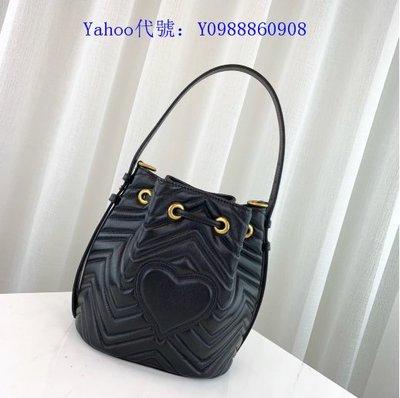 里昂二手正品   GUCCI GG Marmont quilted leather 水桶包 476674 黑色
