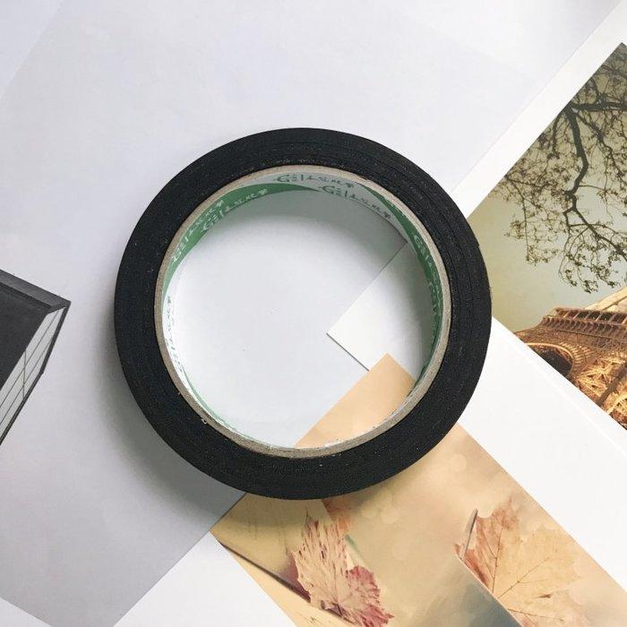 【貼貼屋】ins黑色簡約膠帶(15mm/20米長) DIY照片牆 海報牆 卡片裝飾 邊框 學生手帳膠帶