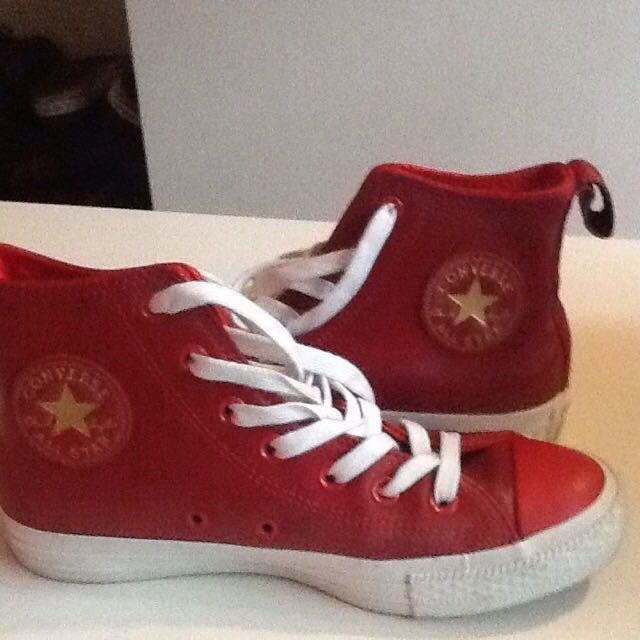 converes紅色球鞋all star皮革馬年款