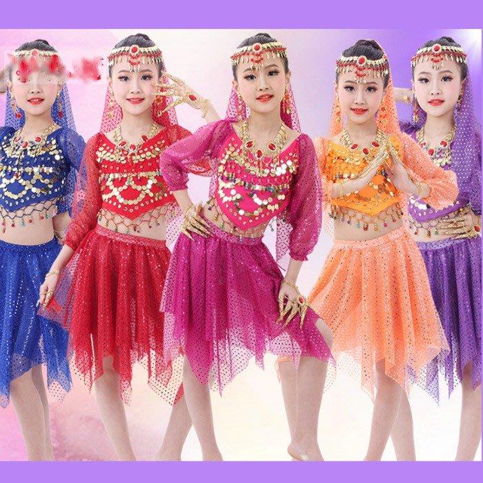 5Cgo【鴿樓】530307719664兒童肚皮舞演出服套裝少女兒童印度舞服裝裙舞蹈表演舞衣雪紡亮點舞裙頭紗頭飾短裙上衣