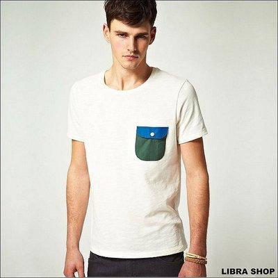 【LIBRA】英國購入:藍綠色口袋拼接簡約合身休閒短T≠calvin klein/ fred perry/ agnes b 台北市