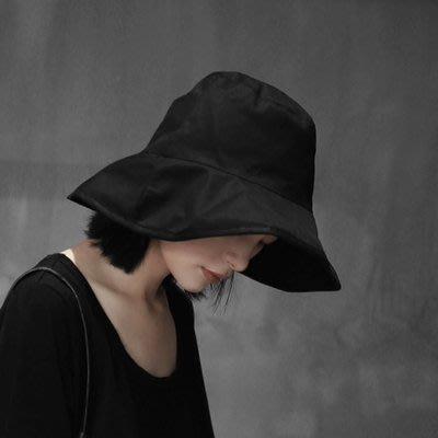 (免運)SIMPLE BLACK 暗黑日系風帆布漁夫帽 盆帽【莉芙小鋪】