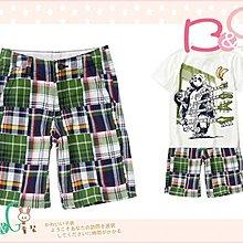 【B& G童裝】正品美國進口Crazy8綠藍格子拼布男童短褲7,8號6-7-8yrs
