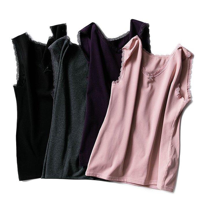 日本衛生衣背心 保暖背心式衛生衣 發熱內搭薄款衛生衣 裡起薄毛 蕾絲衛生衣背心 大尺碼