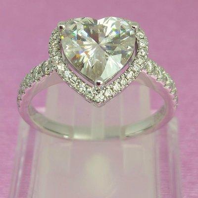 心型鑽石珠寶專櫃925純銀心型戒指 微...