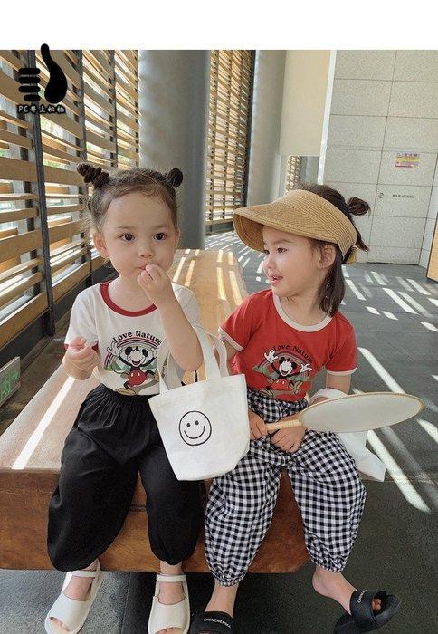 迪士尼米老鼠短袖t恤 親子裝 夏裝 兒童母女卡通上衣@井上松柏