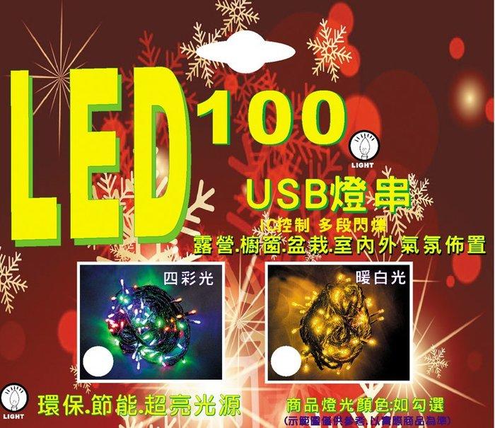 【洋洋小品USB  LE100燈串四彩光/暖白光彩色露營燈具】桃園平鎮中壢聖誕節-LED燈泡LED燈條LED燈串