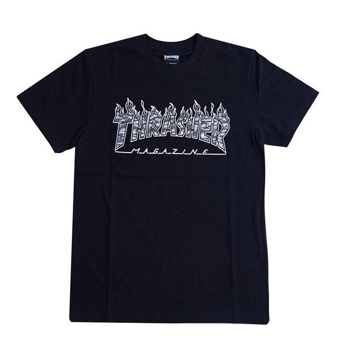 THRASHER 日線 TIGER CAMO FLAME  短袖-BLACK【HopesTaiwan】