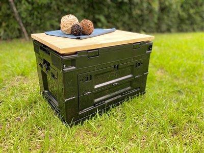 八刀草 軍風箱 折疊側開收納箱 摺疊收納箱 專用松木蓋板 露營 收納 居家生活