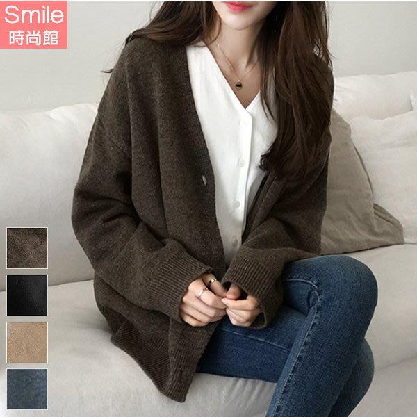 【V3193】SMILE-輕熟質感.純色V領針織長袖外套