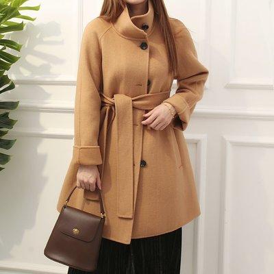 原單 尾單 外貿 // 韓國單特價!! 春季新款 系帶中長款羊毛大衣 外套雙面呢大衣女