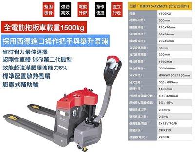 CBD15 全電動拖板車 全自動拖板車 低床機型適用多種棧板 貨叉最低⾼度80mm
